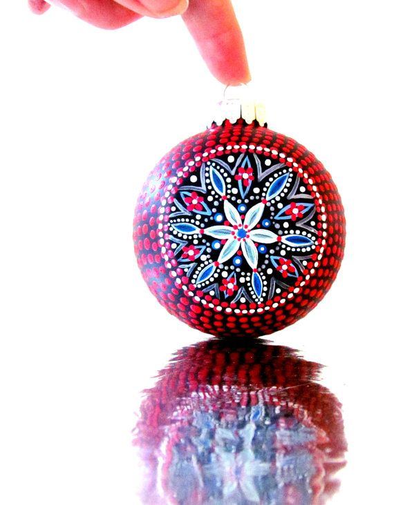 Christmas Ornaments Red Hand painted Christmas ornament Festive on Etsy, $55.00