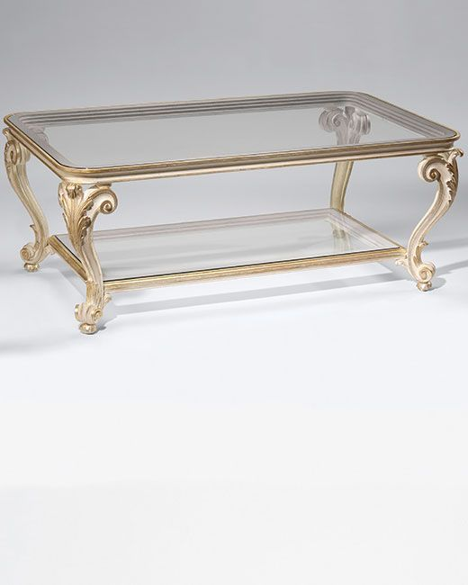 Coffee Tables With Glass Top. Louis XV Style Carved Wood Table With Scroll  And Leaf Motif, Antique Ivory Finish And Antique Silver Leaf Trim; This  Louis XV ...