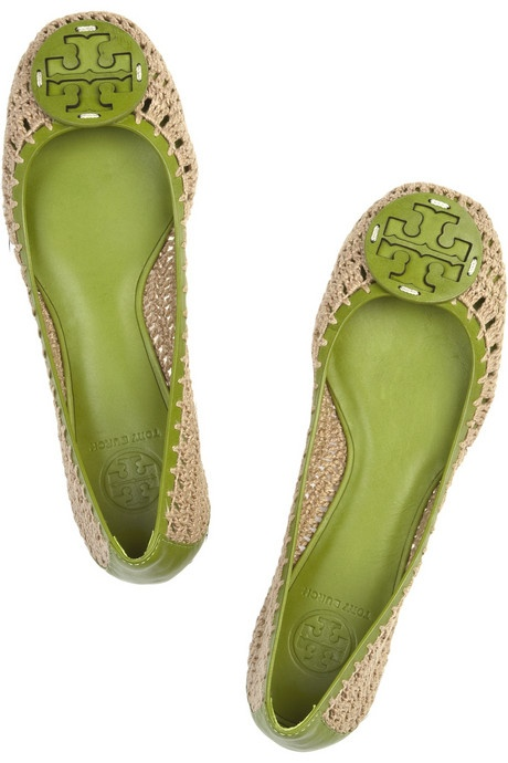 Tory Burch Rory leather and crochet flats5