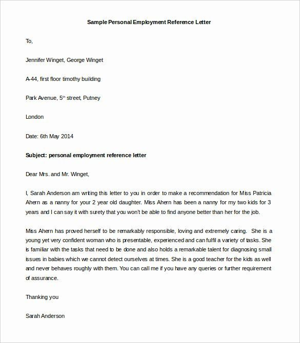 40 Personal Recommendation Letter Sample Reference Letter