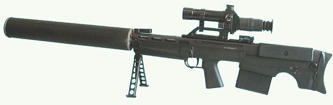 VSSK Vychlop Sniper Rifle (Russia), Caliber 12.7x54mm special subsonic. 5 round detachable box magazine
