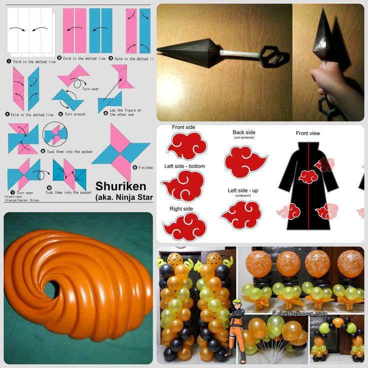 #birthday #idea #naruto_theme  #shuriken #tobi's_mask  #akatsuki robes #kunai #naruto_headband for decorations!  http://www.wikihow.com/Make-a-Paper-Kunai-Knife https://www.youtube.com/watch?v=QcXsG-bx9Zc (for tobi's mask) https://www.youtube.com/watch?v=JTfrF_8Nhxc (for naruto headband)