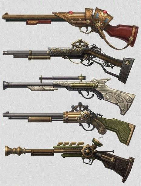 Ideas for props for Hunter Outfit Various Calvan rifles after restoration. The top one could be an archeotech rifle.