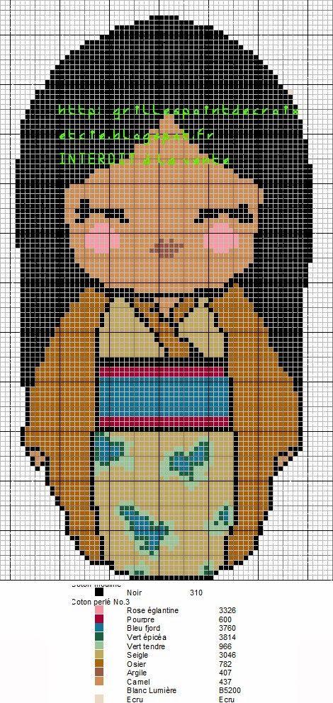Pocahontas Kokeshi pattern by grilles point de croix et cie