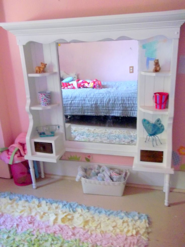 Re done mirrored hutch for Emma s room  I added furniture legs to give itBest 20  Dress up area ideas on Pinterest   Dress up storage  . Diy Vanity For Little Girl. Home Design Ideas