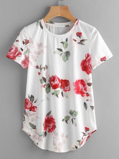 Camiseta con estampado de rosa y ribete delfín