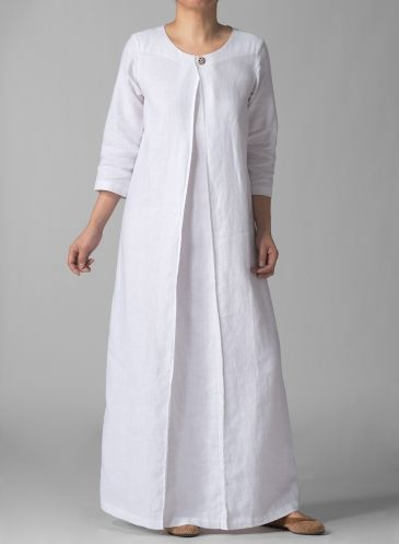3/4 Sleeve Linen Long White Dress:
