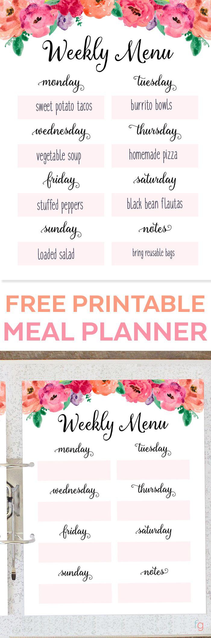 Weekly Meal Plan Printable Free Printable Weekly Meal Planner - Menu Plan Printable - Menu Planning Printable - Free Printables for Home - Organizing - Organization Ideas via @frugalitygal