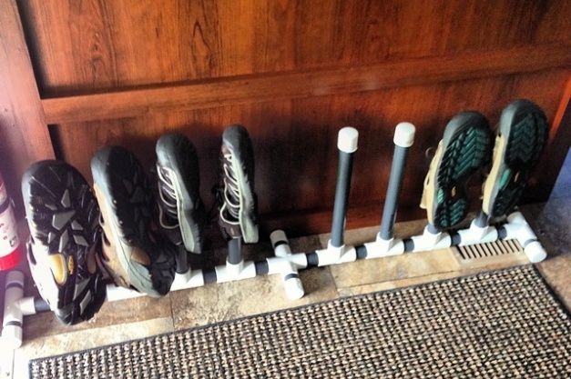 Shoe storage solution for RV- perfect. Nothing irritates me more than a big ole pile of shoes on the camper floor.