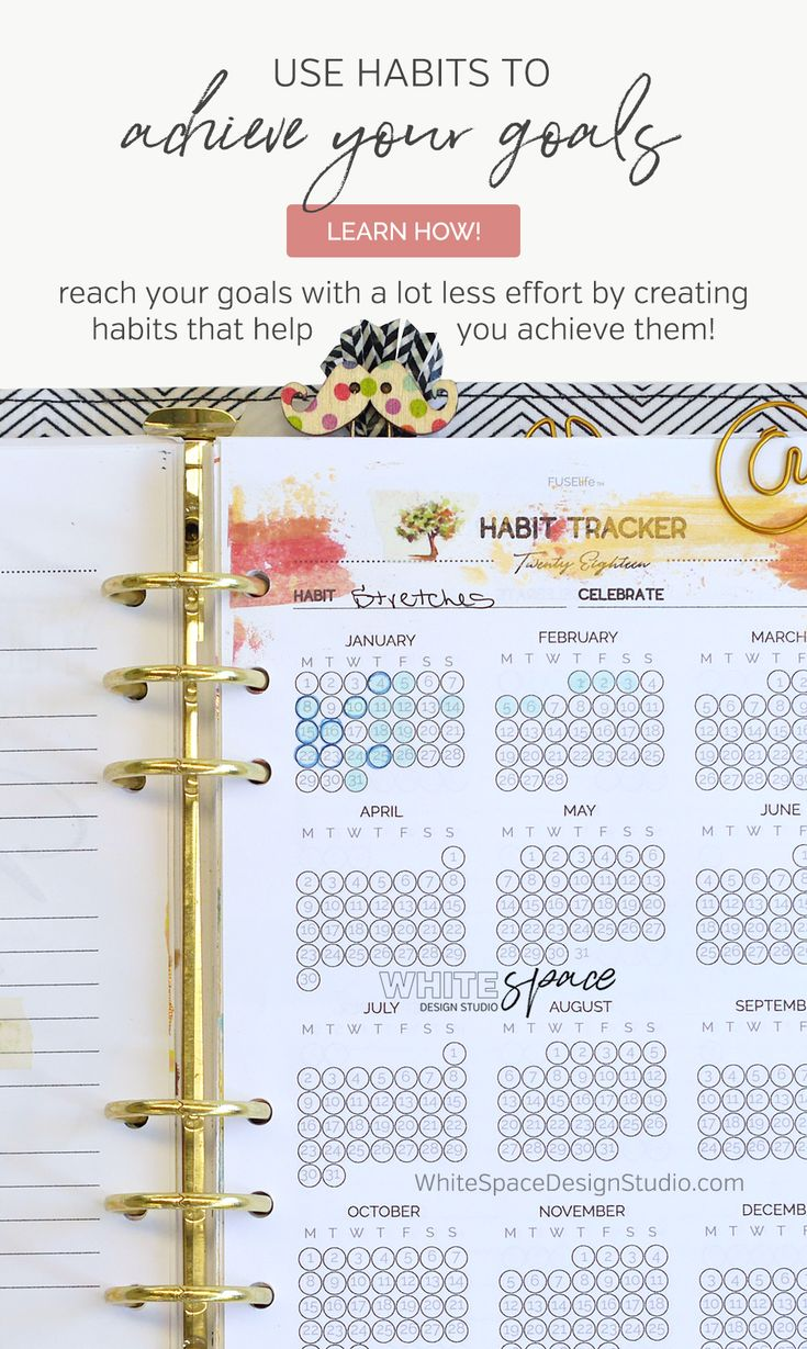 HOW TO USE HABITS TO SUPPORT YOUR GOALS | Learn how to reach your goals with a lot less effort by creating habits that help you achieve them. | whitespacedesignstudio.com #flourishwithwhitespace #plannerprintables #planning #productivity #habits #routines #goalsetting