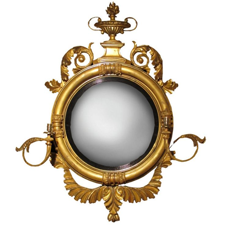 A Fine Regency Carved Giltwood Two Light Girandole Mirror With Neoclassical  Carved Details. The Top