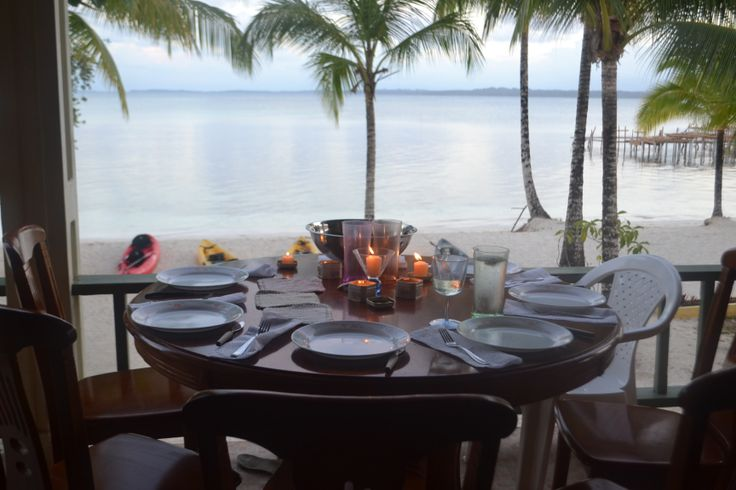 Candlelit dinner from our balcony on the beach at Bastimentos Island, Bocas del Toro, Panama