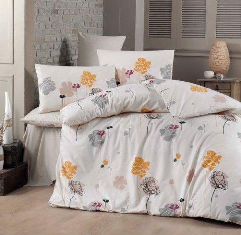 Lenjerie de pat din bumbac Valentini Bianco VKR10 Fleur