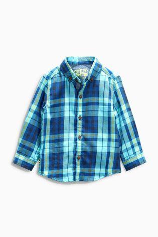 Купить Бирюзовая рубашка в клетку (3 мес.-6 лет) - Покупайте прямо сейчас на сайте Next: Россия