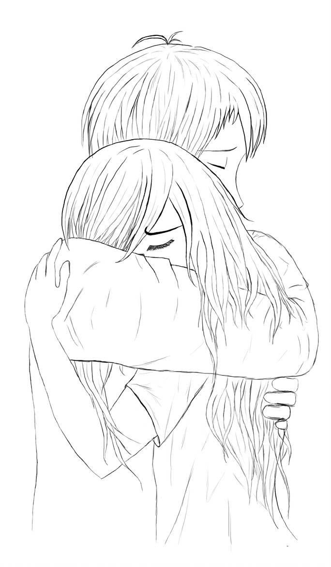 Hug Lineart By Illsa On Deviantart Couple Drawings Hugging Drawing Cute Couple Drawings