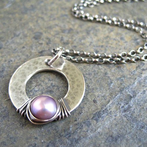 Pink Pearl Pendant Sterling Silver Hoop Valentines                              …