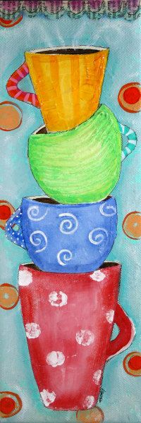 Original Painting - Acrylic Paint and Modeling Paste - 4 x 12 canvas -  Red Green Blue and Orange Coffee Mug Art on Etsy. $55.00, via Etsy.