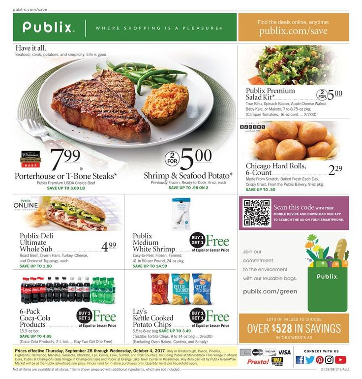 Publix Weekly Ad September 28 - October 4 #grocery #food savings #Publix circular United States