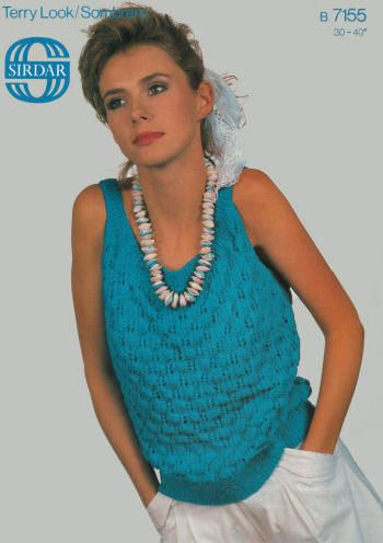 Patterned Sleeveless Top Vintage Knitting Pattern for download - Three Bust Sizes 30 - 40 inches (76 - 102cm)