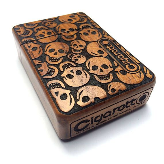 Wooden Cigarette Case  - Skull Pattern by cigarettoss. Explore more products on http://cigarettoss.etsy.com