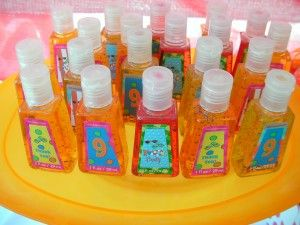 Beach party favors from Bath & Body Works.