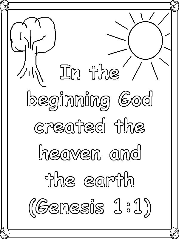 Genesis 1 verse 1 coloring page homeschool preschool for Give a man a fish bible verse