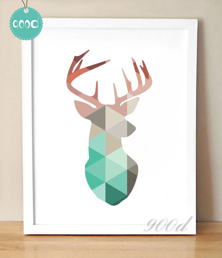 Pas cher Géométrique Corail Deer Head Toile Art Print Affiche, mur Photos pour…