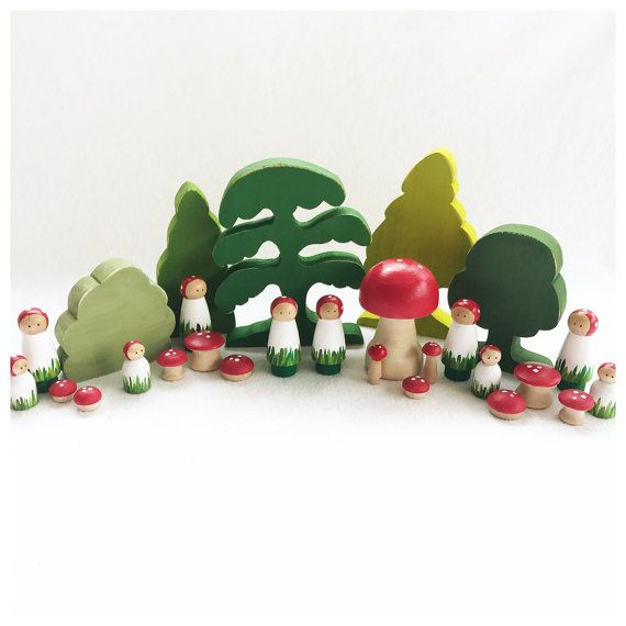 Mushroom People Peg Doll - wood peg dolls - woodland pretend play - storytelling fairytale fairy storybook - gnome - imagination toy