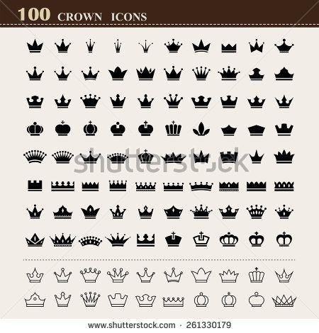 100 basic Crown icons set . Illustration eps10 - stock vector