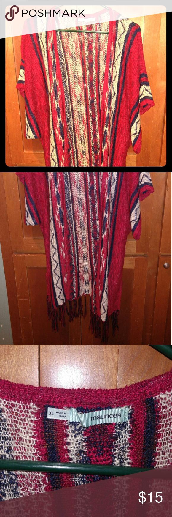 Very Cute Tribal Print Cardigan Sz. XL This is a super cute lightweight knit cardigan in red, blue and cream. Comes short sleeves and fringe detail at hemline. Sz. XL. Maurices Sweaters Cardigans