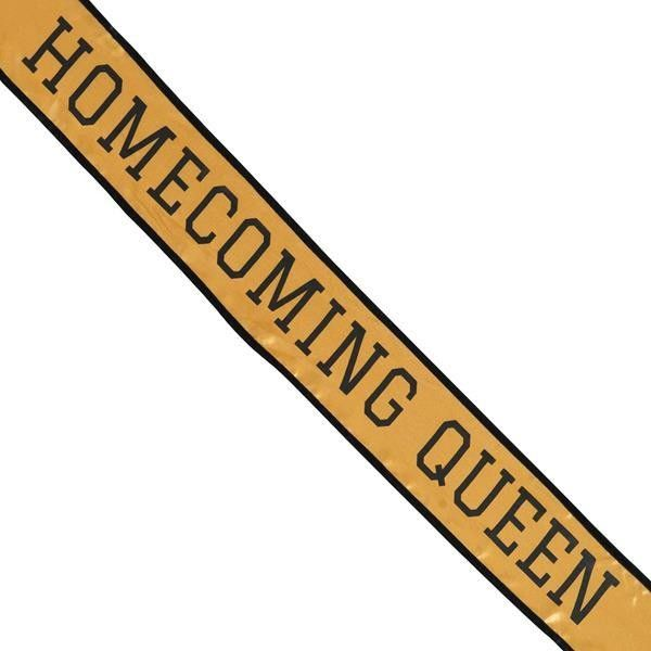 Gold Black School Color Homecoming Queen Sash ($199) ❤ liked on Polyvore featuring accessories, belts, black and gold belt, gold crown, black gold belt, sash belt and gold sash belt