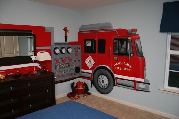 Boys 'Fire Truck' Room, painted mural & built on a board working dials, knobs, levers, etc. so it is a little interactive but very sturdy.