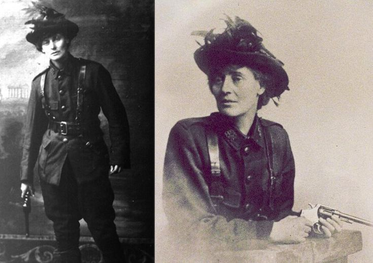 Constance Markievicz (née Gore-Booth) was an Anglo-Irish Countess, Sinn Féin and Fianna Fáil politician, revolutionary nationalist, suffragette and socialist. She participated in many Irish independence efforts, including the Easter Rising of 1916, in which she had a leadership role. Constance was one of the first women in the world to hold a cabinet position (Minister for Labour of the Irish Republic, 1919–1922).
