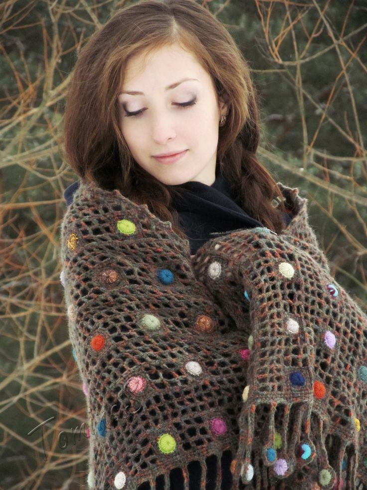 """Raindrops"" (crochet shawl, wrap, filet lace, wool shawl, crochet drops)"