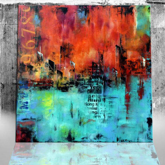 Original Large abstract painting 48x48 by ModernArtHomeDecor