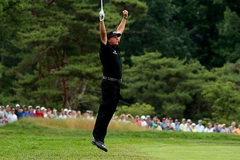 Celebration Jump by Mickelson at US Open! #golf #mickelson #usopen #pga #majorchampionship