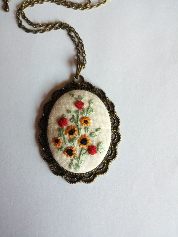 Spring Flower Necklace, Vintage Style Necklace, Embroidered Necklace, Long Pendant Necklace by RedWorkStitches on Etsy