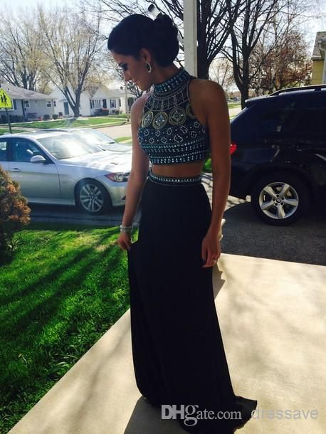 Fashion Two Pieces Party Prom Dresses 2015 Beaded High Neck Long Skirt Vestidos De Fiesta Evening Gowns BO6600 $139.97 | DHgate.com