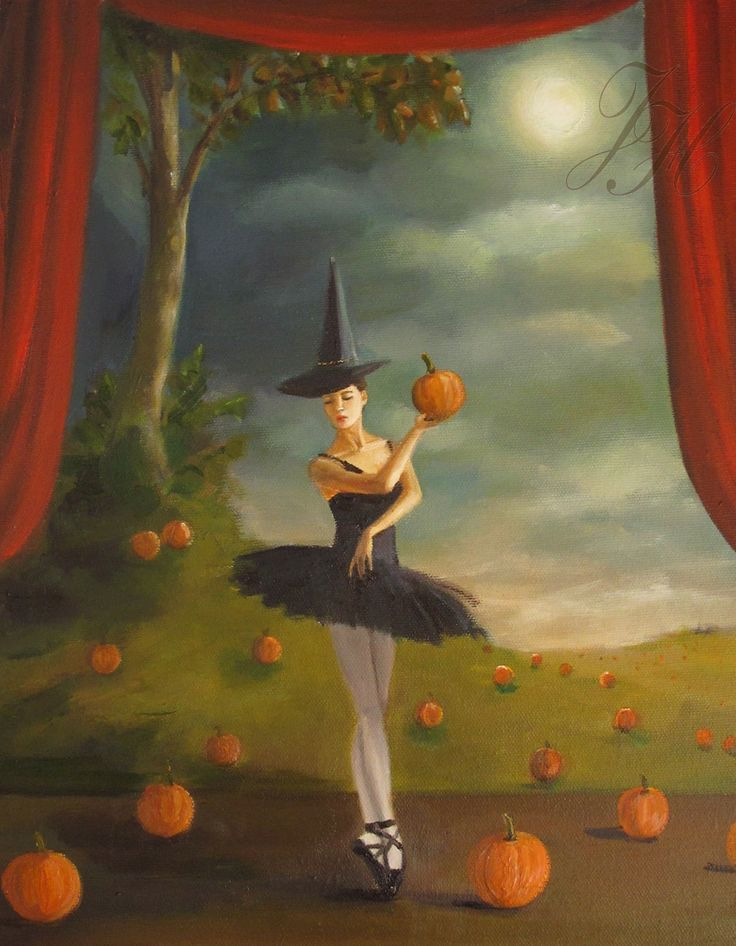 """Dance of the Pumpkin Patch ~ 11"""" x 14"""" oil on canvas, autumn or Halloween theme 