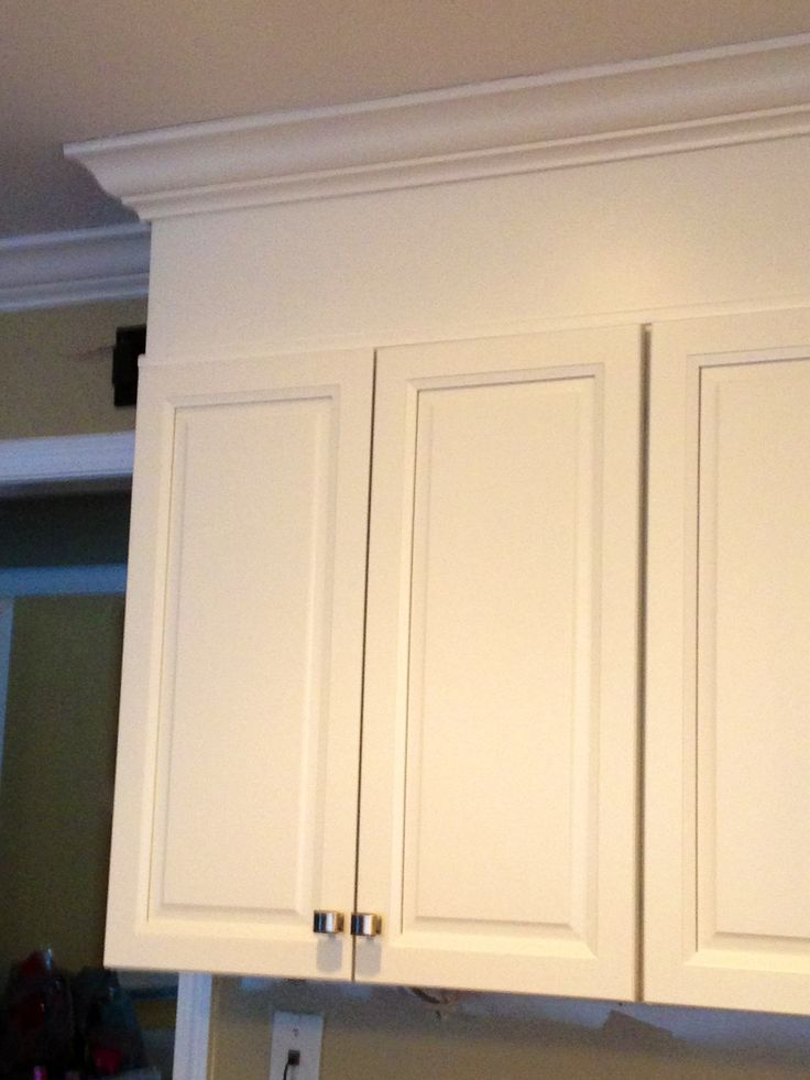 Idea if we have to keep the soffit i love the trim added for Overhead kitchen cabinets