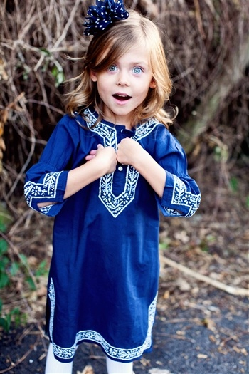 World Traveler Navy Tunic, so pretty!!!! Love the expression on her face, so cute!