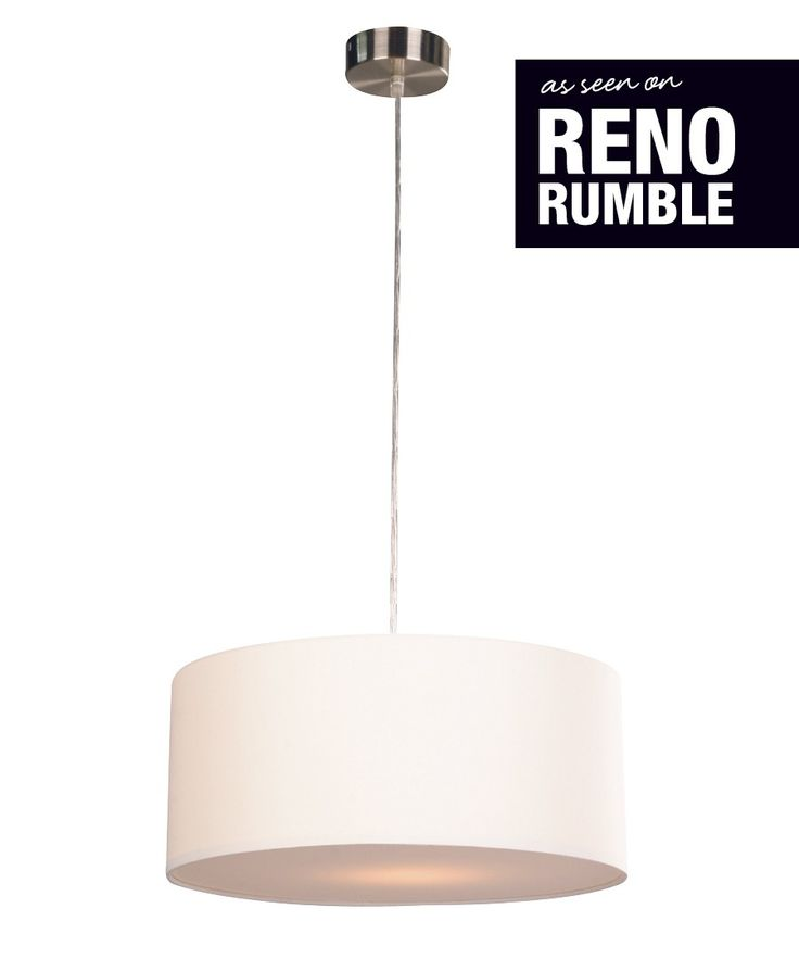 Beacon Lighting - Mara II medium drum 1 light pendant in white and brushed chrome