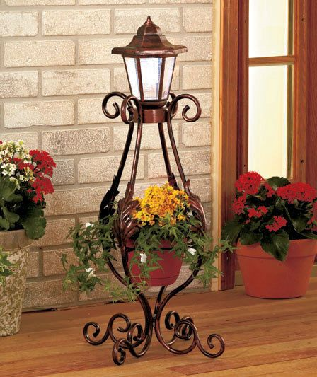 Elegant Solar Lighted Lantern Garden Post W/Planter Metal Scrollwork Outdoor