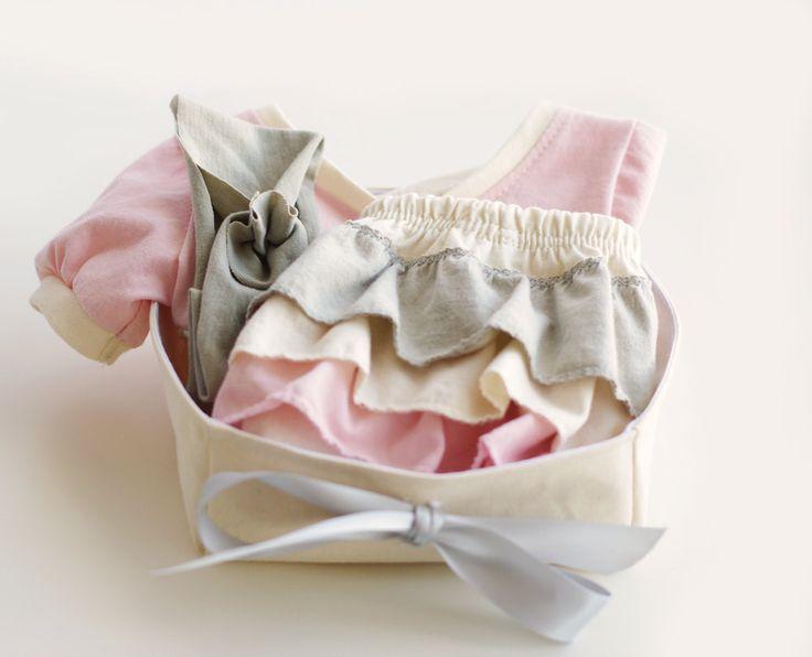Organic Baby Girl Gift Basket   Tunic + Ruffled Diaper Cover + Headband