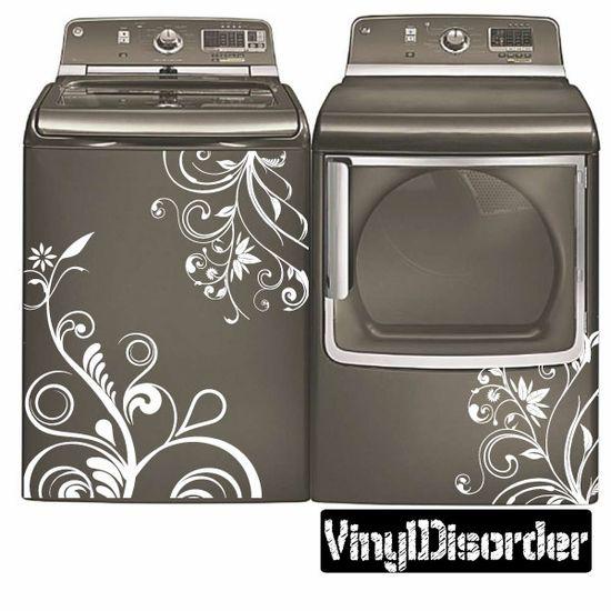 Washing Machine Decal - Floral Design - Vinyl Decal - Car Decal - 03
