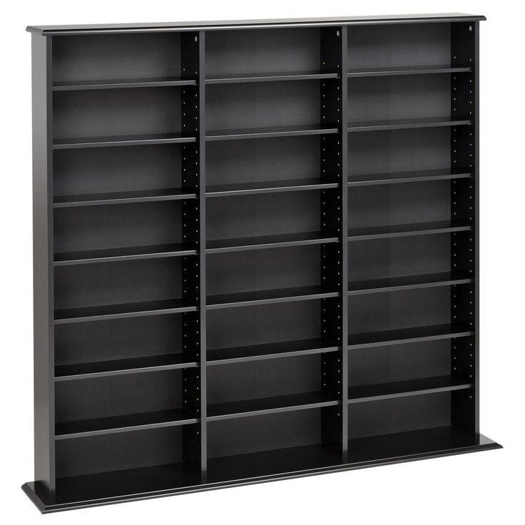 Prepac Triple Width Media Storage (Black)