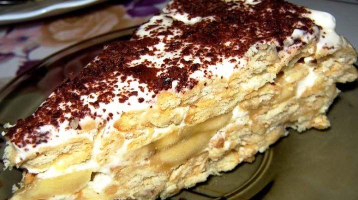1images of site.Быстрый банановый торт на основе печенья Категория: Десерты Для приготовления необходимо: 2 пачки сахарного печенья (например «Юбилейное» или украинское «Моя Люба») 5-6 бананов 0,5 литра сметаны 1 стакан сахара 300 миллилитров молока фрукты и шоколад для декорирования Как готовить: 1. Сметану размешиваем с сахаром и нарезанными кругами бананов. 2. Печенье макаем на пару секунд в молоко, затем выкладываем из него уровень торта. 3. На каждый уровень печенья кладем уровень…