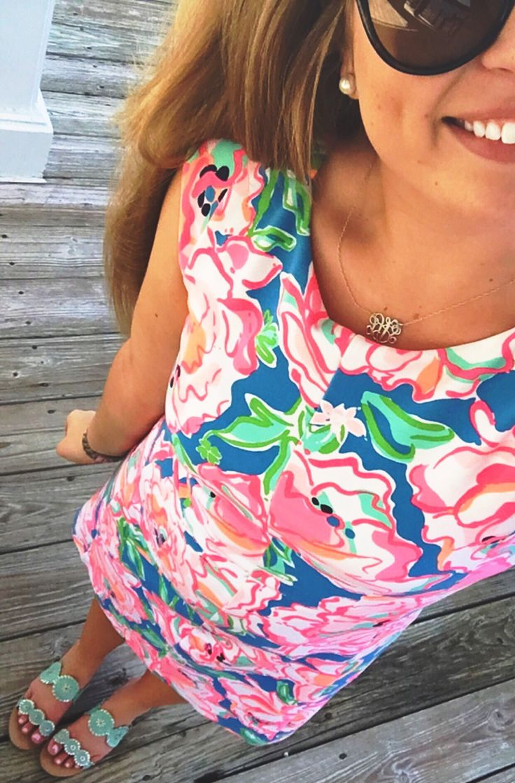 Lilly Pulitzer pink and blue floral dress