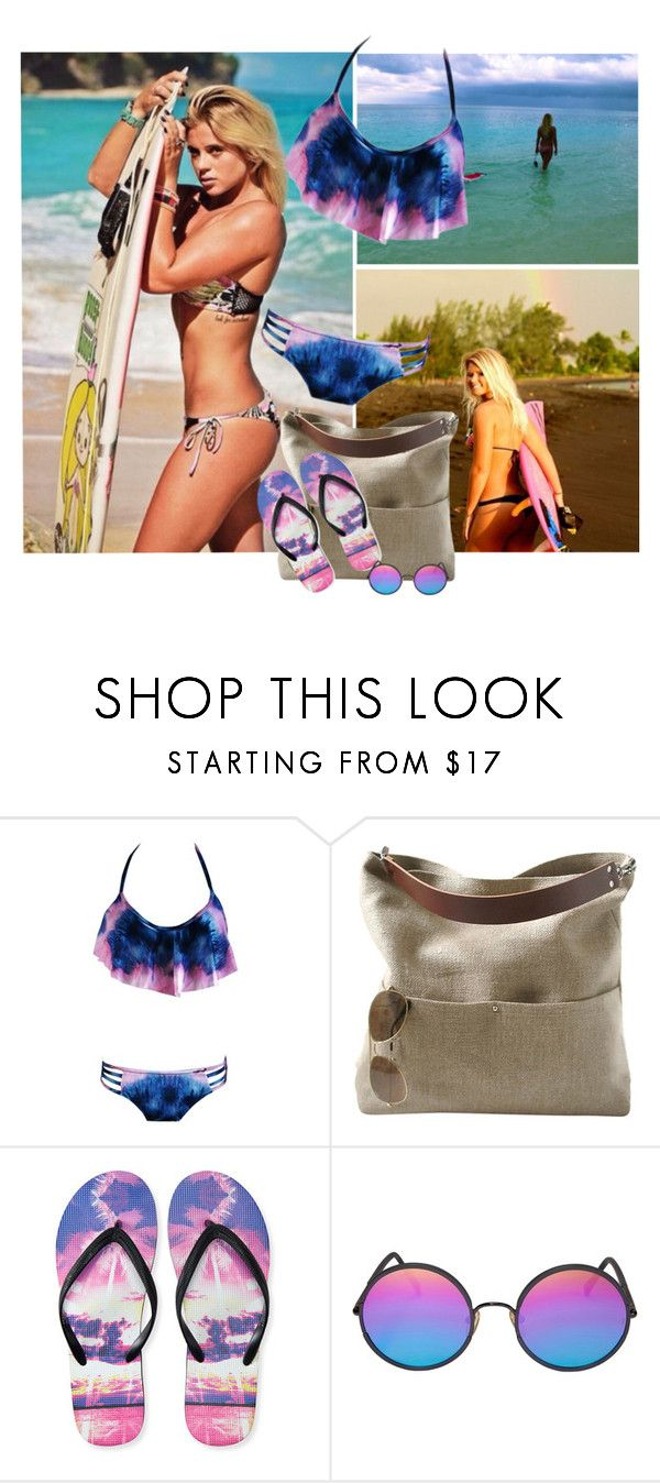 """""""For Manny"""" by gregory-joseph ❤ liked on Polyvore featuring Independent Reign, Aéropostale, Sunday Somewhere, bikini, surf, sunglasses, FlipFlops and Beachbag"""