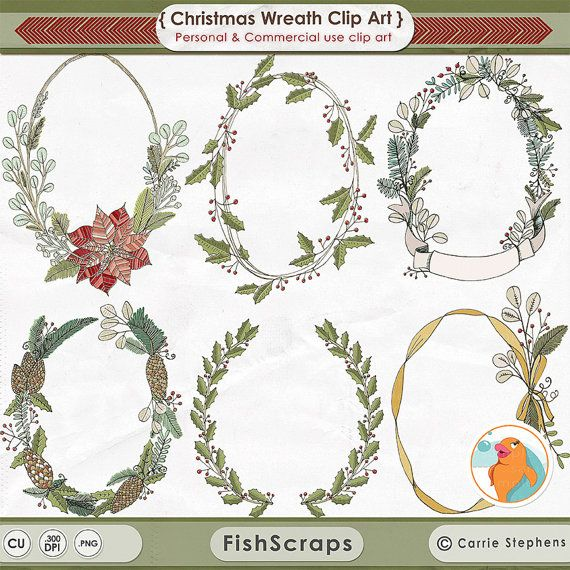 Christmas Wreath Clip Art - Christmas Floral Wreaths for creating holiday invitations, prints etc!  Poinsettia Flowers - Rustic Winter Holly and Pine - Royalty Free, see shop policies for details!